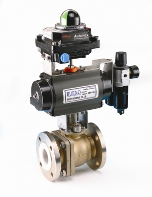 PFA Lined Ball Valve with Pneumatic Actuator – Bueno
